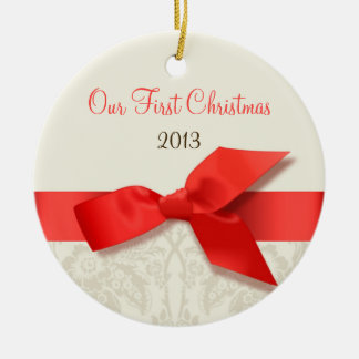Coral and Taupe Damask Keepsake Ornament