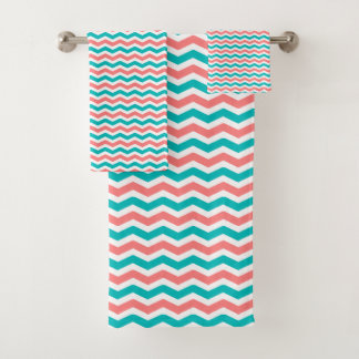 Coral and Teal Chevron Bath Towel Set