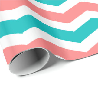 Coral and Teal Chevron Wrapping Paper