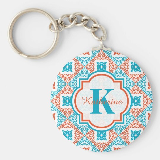 Coral and Teal Decorative Pattern Monogram Basic Round Button Key Ring