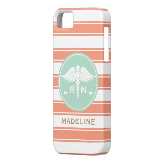 CORAL AND TEAL STRIPE CADUCEUS NURSE RN iPhone 5 COVER
