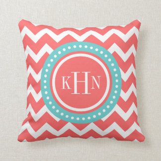 Coral and Turquoise Chevron Monogram Cushion