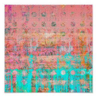 Coral and Turquoise Weathered Polka Dot Paint Poster