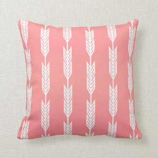 Coral and White Arrow Designs Cushion