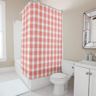Coral and White Buffalo Plaid Pattern Shower Curtain