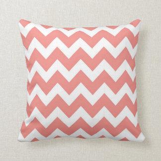 Coral and White Chevron Pillow