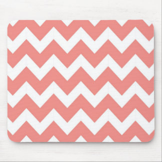 Coral and White Chevron Mouse Mat