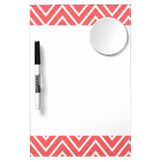 Coral and White Chevron Pattern 2 Dry Erase Board With Mirror