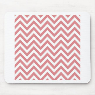 Coral and White Chevron Zigzag Pattern Mouse Mat