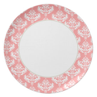 Coral and white damask plate