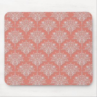 Coral and White Elegant Floral Damask Mouse Pad