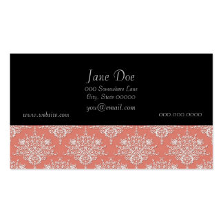 Coral and White Elegant Floral Damask Pack Of Standard Business Cards