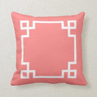 Coral and White Greek Key Cushion
