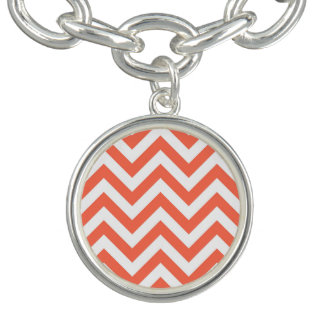 Coral and White Large Chevron ZigZag Pattern