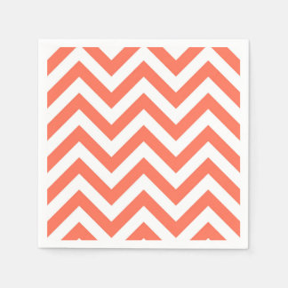 Coral and White Large Chevron ZigZag Pattern Disposable Napkin
