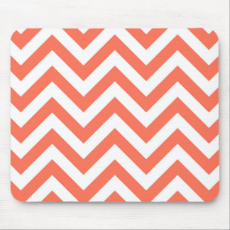 Coral and White Large Chevron ZigZag Pattern Mousepads