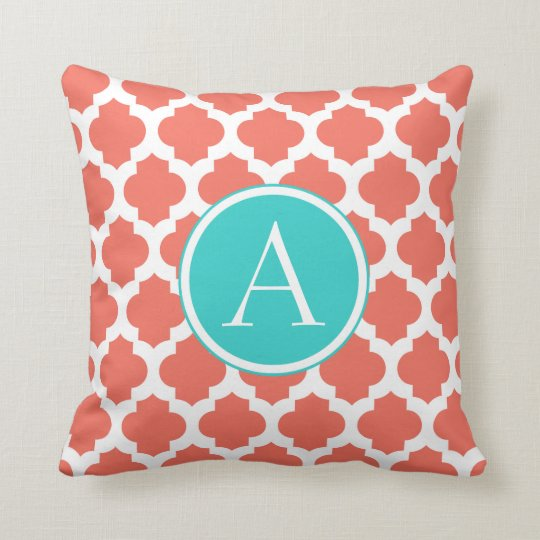 Coral and White Moroccan Pattern, Aqua Monogram Cushion