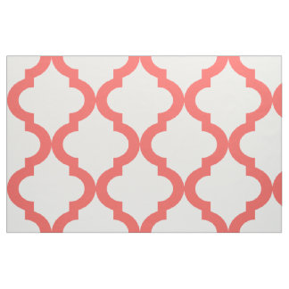 Coral and White Moroccan Quatrefoil Print Fabric