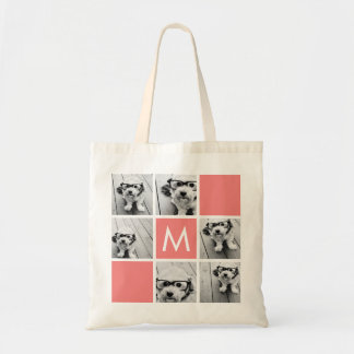 Coral and White Photo Collage Custom Monogram Budget Tote Bag