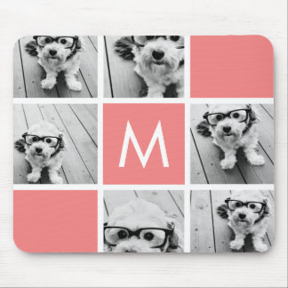 Coral and White Photo Collage Custom Monogram Mouse Pad