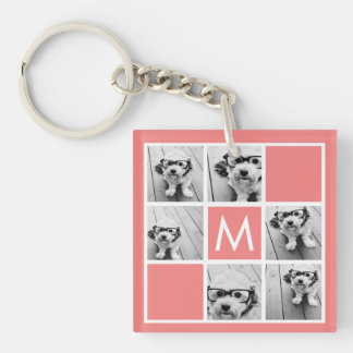 Coral and White Photo Collage Custom Monogram Single-Sided Square Acrylic Key Ring