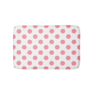 Coral and white polka dots bath mat