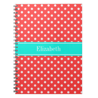 Coral and White Polka Dots Brt Aqua Name Monogram Spiral Notebook