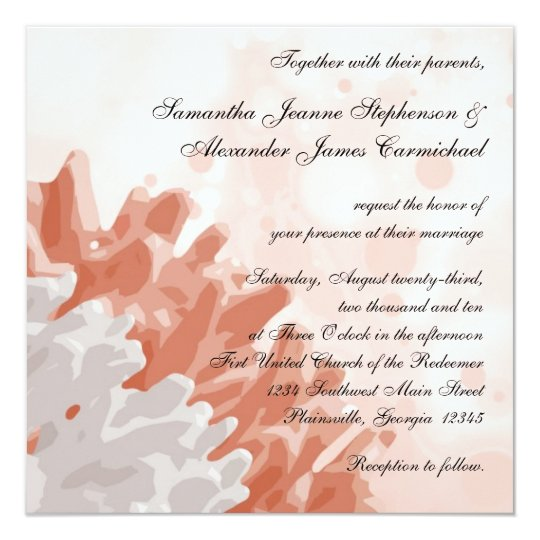 Coral And White Wedding Invitations: Coral And White Reef Beach Wedding Invitations