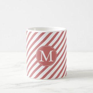 Coral and White Stripes monogram Basic White Mug