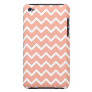 Coral and White Zig Zag Pattern. Barely There iPod Cases