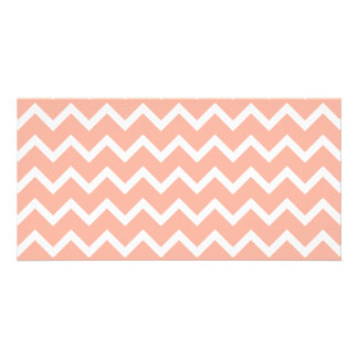 Coral and White Zig Zag Pattern. Card
