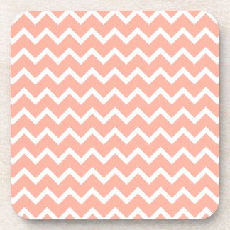 Coral and White Zig Zag Pattern. Coaster