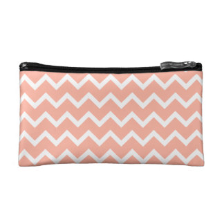 Coral and White Zig Zag Pattern. Cosmetic Bags