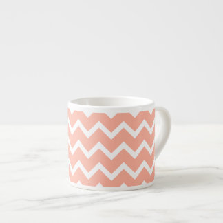 Coral and White Zig Zag Pattern. Espresso Cup