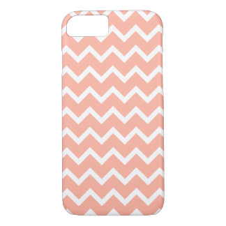 Coral and White Zig Zag Pattern. iPhone 8/7 Case