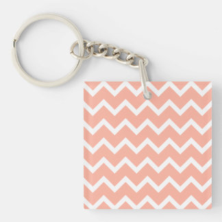 Coral and White Zig Zag Pattern. Key Ring