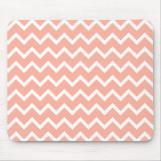 Coral and White Zig Zag Pattern. Mouse Mat