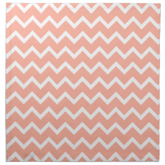 Coral and White Zig Zag Pattern. Napkins
