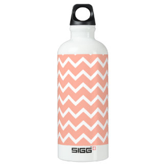 Coral and White Zig Zag Pattern. Water Bottle