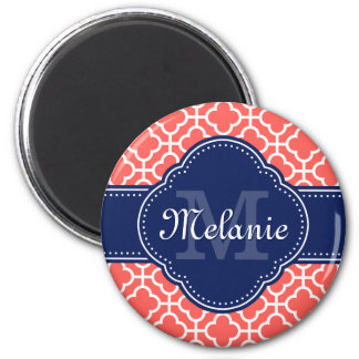 Coral and Wht Moroccan Pattern Navy Monogram Magnet