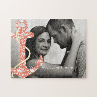 Coral and Yellow Anchor Beach Wedding Jigsaw Puzzle