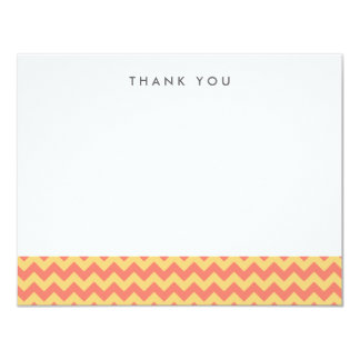 Coral and Yellow Chevron Thank You Note Cards 11 Cm X 14 Cm Invitation Card