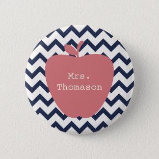 Coral Apple & Navy Chevron Teacher 6 Cm Round Badge
