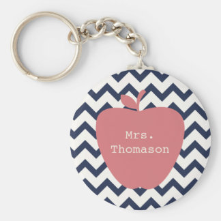 Coral Apple & Navy Chevron Teacher Basic Round Button Key Ring