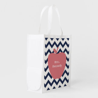 Coral Apple Navy Chevron Teacher Reusable Grocery Bag
