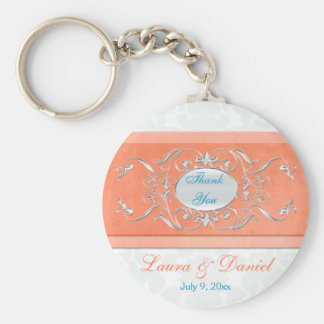 Coral, Aqua, and Gray Damask Wedding Favor Key Ring