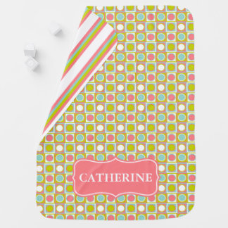 Coral Aqua and Lime Polka Dot Tiles and Stripes Receiving Blankets
