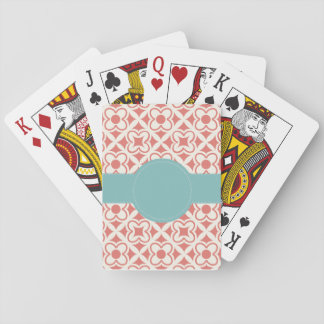 Coral Aqua Personalized Playing Cards