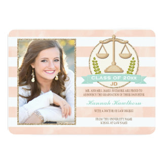 Coral Aqua Scales of Justice Law School Graduation Card