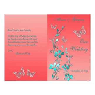 Coral Aqua Silver Butterfly Floral Wedding Program 21.5 Cm X 28 Cm Flyer
